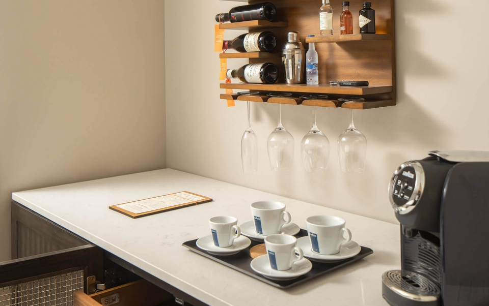 Coffee and Wet Bar area in a guest room