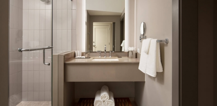 Bathroom sink and shower of a guest room